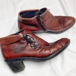 Rieker leather burgundy ankle heeled booties